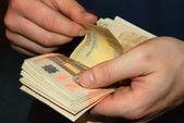 Counting money (Euro) — Stock Photo