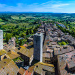 Aerial view from Tuscan City of San Gimignano, Tuscany, Italy - Stock Photo