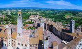 Aerial view from Tuscan City of San Gimignano, Tuscany, Italy — Stock Photo