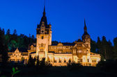 Night view of Peles castle - Romania landmark — Stock Photo