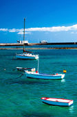 Fisher boats in laguna Charco de San Gines, Arrecife — Stock Photo