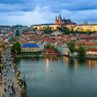 Prague Castle, Charles Bridge and Vltava, Prague, capital of Cze — Stock Photo