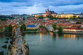 Prague Castle, Charles Bridge and Vltava, Prague, capital of Cze — Stok fotoğraf