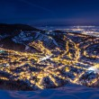 A night exposure over old part of Brasov — Stock Photo