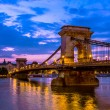 Szechenyi, Chain Bridge over the Danube river — Stock Photo