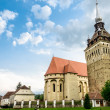 The evangelical church of Saschiz village, Romania — Stock Photo