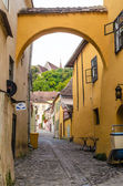 Medieval street from Sighisoara, Romania — Stock Photo