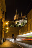 Night view on the street of Prague — Stock Photo