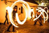 Night dance with fire — Stock Photo