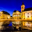 Main town square at blue hour, Sibiu, Romania — Stock Photo