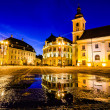 Main town square at blue hour, Sibiu, Romania — Stock Photo #34269899