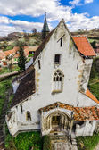 Richis, Evangelical fortified church — Stock Photo