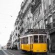 Yellow Tram in motion, Lisbon, Portugal — Stock Photo