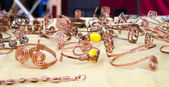 Handmade copper bracelets — Stock Photo