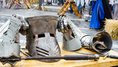 Armor and weapons at Medieval festival, Brasov — Stock Photo
