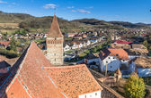 Aerial view of Mosna Vilage and church tower — Stock Photo