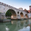Stock Photo: Marble bridge on river Tiber in Rome, Italy