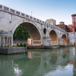 Marble bridge on river Tiber in Rome, Italy — Stock Photo