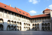 Courtyard surrounded by galleries, Wawel Castle, Krakow, Poland — Stock Photo