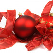Stock Photo: Two christmas baubles with ribbon on white