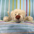 Sick bear with thermometer in bed — Stock Photo