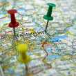 Push pins pointing at Frankfurt am Main, Germany - Stock Photo
