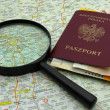 Planning travel to Russia, passport, airplane ticket and rubles — Stock Photo