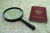 Passport and magnifier on map of Moscow, Russia — Stock Photo