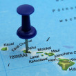 Push pin pointing at Honolulu, Hawaii - Stock Photo