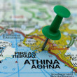 Push pin pointing at Athens, Greece - Stock Photo