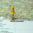 Royalty-Free Stock Photo: Push pin on a tourist map- Montevideo, Uruguay