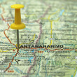 Push pin pointing at Antananarivo, Madagascar - Stock Photo