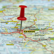 Push pin pointing at Izmir, Turkey - Stock Photo