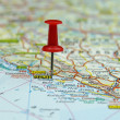 Push pin on a tourist map- Split, Croatia - Stock Photo