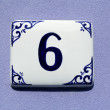 Number six, house address plate number — Stock Photo