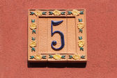 Number five, house address plate number — Stock Photo