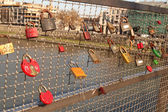 Love locks on a bridge in Krakow, Poland — Stock Photo