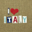 I love italy sign on canvas texture — Stock Photo
