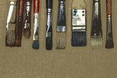 褐色亚麻脏画笔颜料 — 图库照片