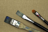 Three dirty paint brushes on canvas — Stock Photo