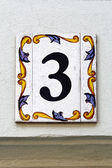 Number three, house address plate number — Stock Photo