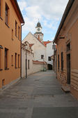 Narrow street in Trebon, Czech Republic — Stock Photo