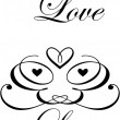 Set of love hand lettering and heart frame, handmade calligraphy — Stockvectorbeeld