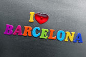 I love barcelona spelled out using colored fridge magnets — Stock Photo