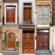 Collage of wooden doors — Photo
