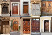 Collage of wooden doors — Stock Photo