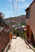 View on Guanajuato from the narrow street on the hill — Stock Photo