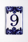 Number nine, house address plate number — Stok fotoğraf