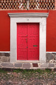 Beauty red wooden door — Stock Photo