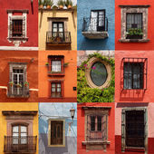 Collage of colorful mexican windows — Stock Photo